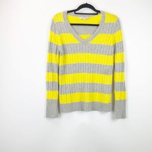 LOFT Yellow Grey Striped Cableknit Sweater